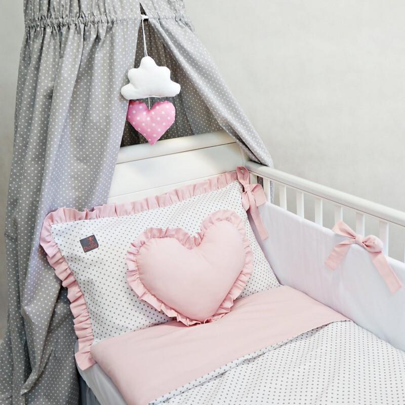2-delna posteljnina, Bele pike/roza