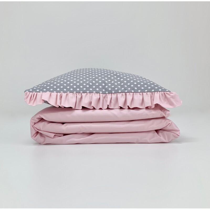 2-delna posteljnina, Sive pike/roza